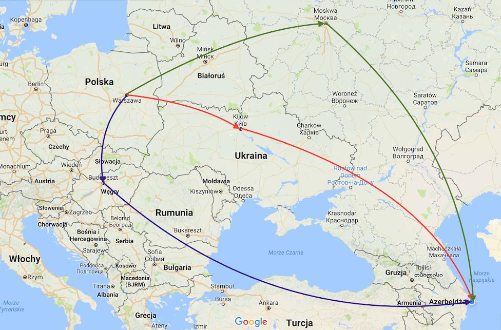 Mapa jak dolecieć do Azerbejdżanu z Polski