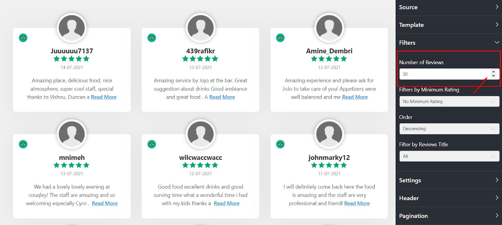 Tripadvisor reviews number of reviews