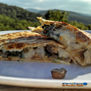 Spicy Pepper Jack Mushroom and Spinach Quesadillas.