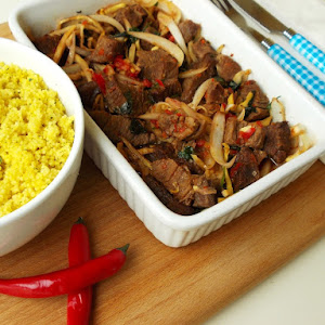 Spicy Beef with Bamboo and Couscous