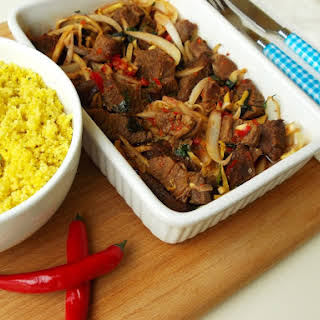Spicy Beef with Bamboo and Couscous.
