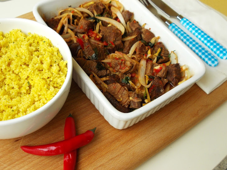 Spicy Beef with Bamboo and Couscous Recipe