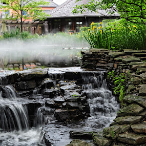 Foggy waterfall by Andrea Everhard - Landscapes Waterscapes ( fog, waterfall, landscape )