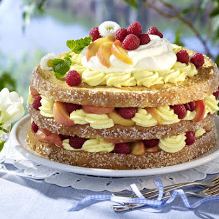 Tropical Peach Melba Cake.
