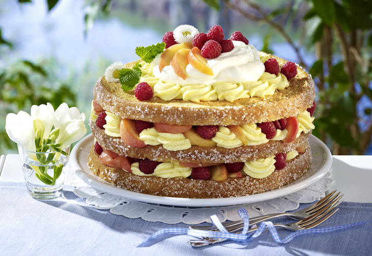 Tropical Peach Melba Cake Recipe
