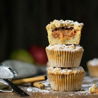 White Chocolate And Apple Crumble Muffins.