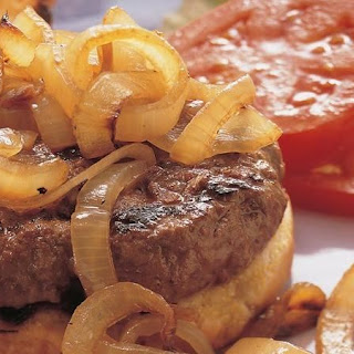 Grilled Hamburger Steaks with Roasted Onions.