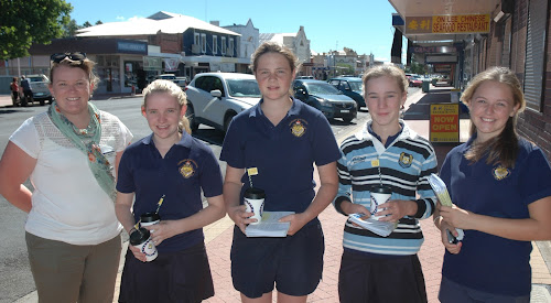 SHARING THE KINDNESS: Narrabri High School Student Representative Council co-ordinator Maree Ford and SRC members (and Year 8 students) Laura McFarland, Paige Fielder, Rachel Charles and Anika Langfield were out and about in town on Tuesday performing 'random acts of kindness'.