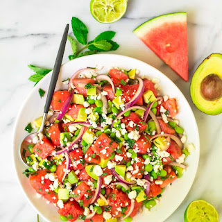 Watermelon Feta Salad with Mint Avocado and Lime.