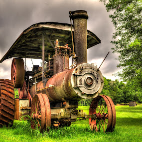Steam Tractor by RomanDA Photography - Transportation Other ( field, tractor, steam, , hdr, time scars )
