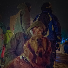 Let It Snow by William Boyea - Animals - Dogs Portraits ( golden retriever, nightscene, smiling, winter, cold, night lights, people, snow, dark, darkness, dog, street photography, night photography )