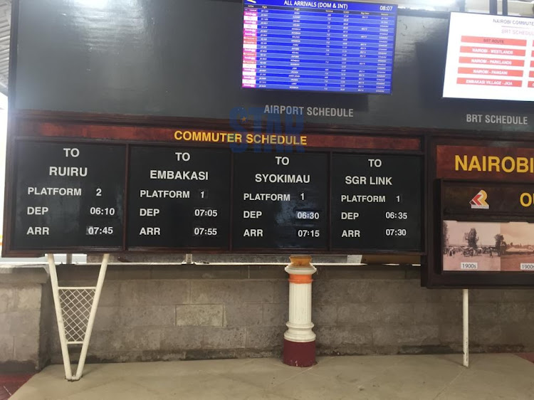 The schedule section at the Nairobi Central Railways Station.