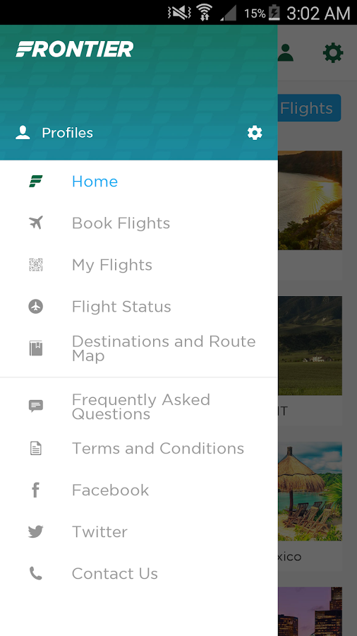 Frontier Airlines- screenshot
