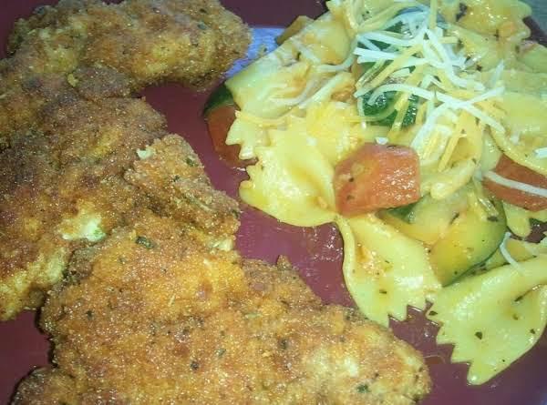 Zuchinni Bowties Served With Aurora Mcbees Chicken Schnitzel