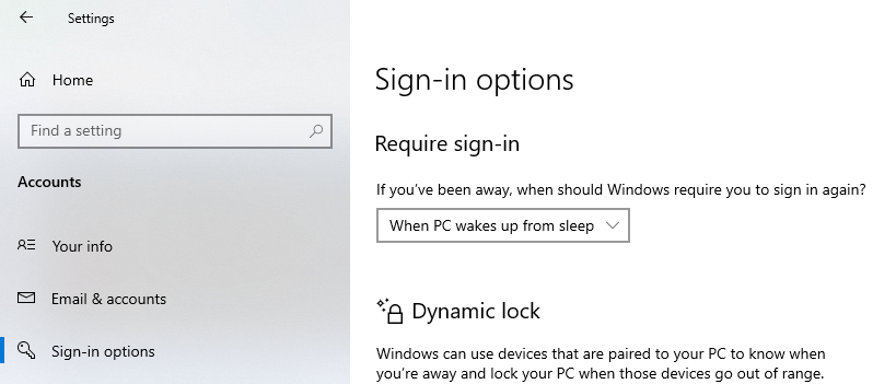 Enabling required password when a system wakes up from sleep mode.