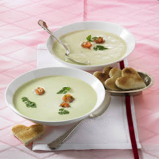 Celery Root Soup with Smoked Salmon Rolls.