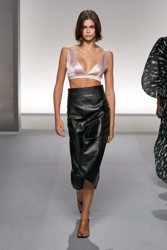 Bra tops made of leather