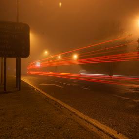 Passing Truck by Jan Crawford - City,  Street & Park  Night ( red, fog, toowoomba, night, light )