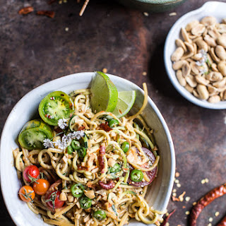 Firey Schezwan Peanut and Chili Zucchini Noodles.