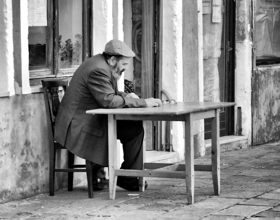 Having a quiet moment by Cathleen Steele - People Street & Candids ( alone, candid, monochrome, reading, man, quiet, serene )