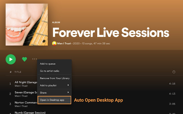 Open Spotify Desktop App