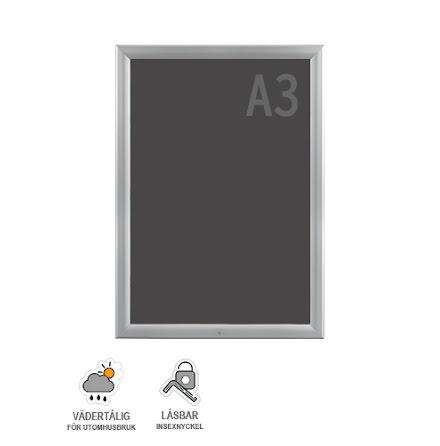Snäppram, Weatherproof lockable A3s, 35mm aluminiumprofil