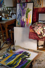 """Photo: Untitled1, Untitled2, and Untitled3, 24"""" x 30"""", oils on stretched canvas"""
