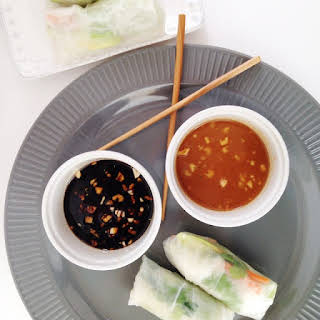 Vegetarian Spring Rolls with Dipping Sauces.