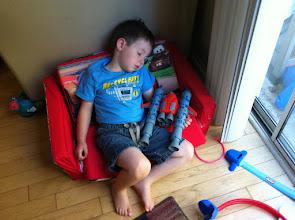 """Photo: Clark Falls Asleep with """"Race Car Rocket"""""""