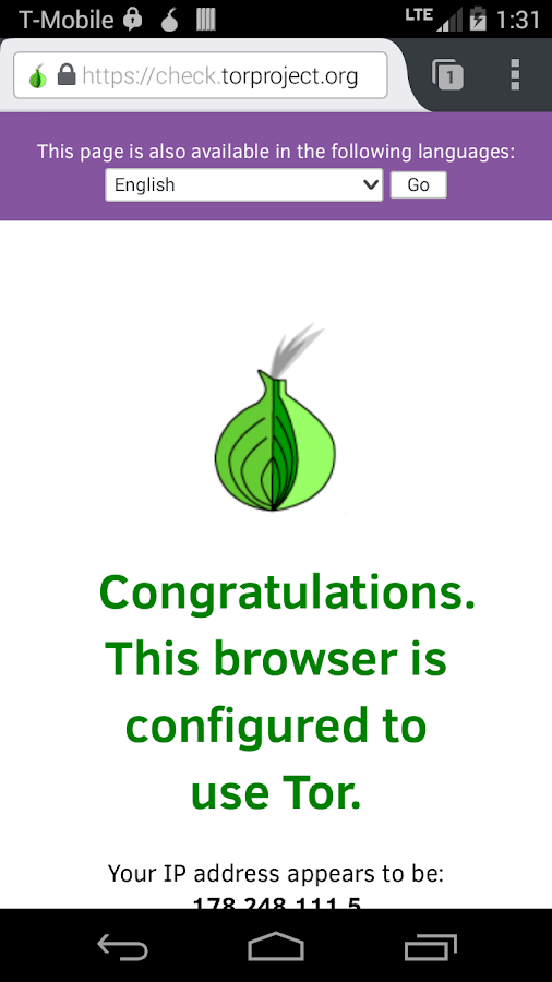 Orfox: Tor Browser for Android – Capture d'écran