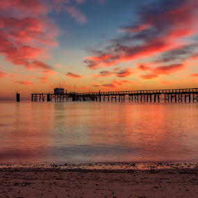 Port Mahon by Brian Lord - Landscapes Sunsets & Sunrises ( sunrise, pier, sunset, clouds, water )