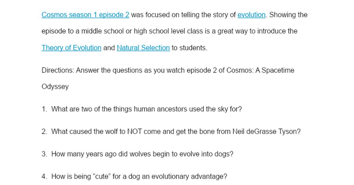 Cosmos Episode 2 Worksheet Google Docs