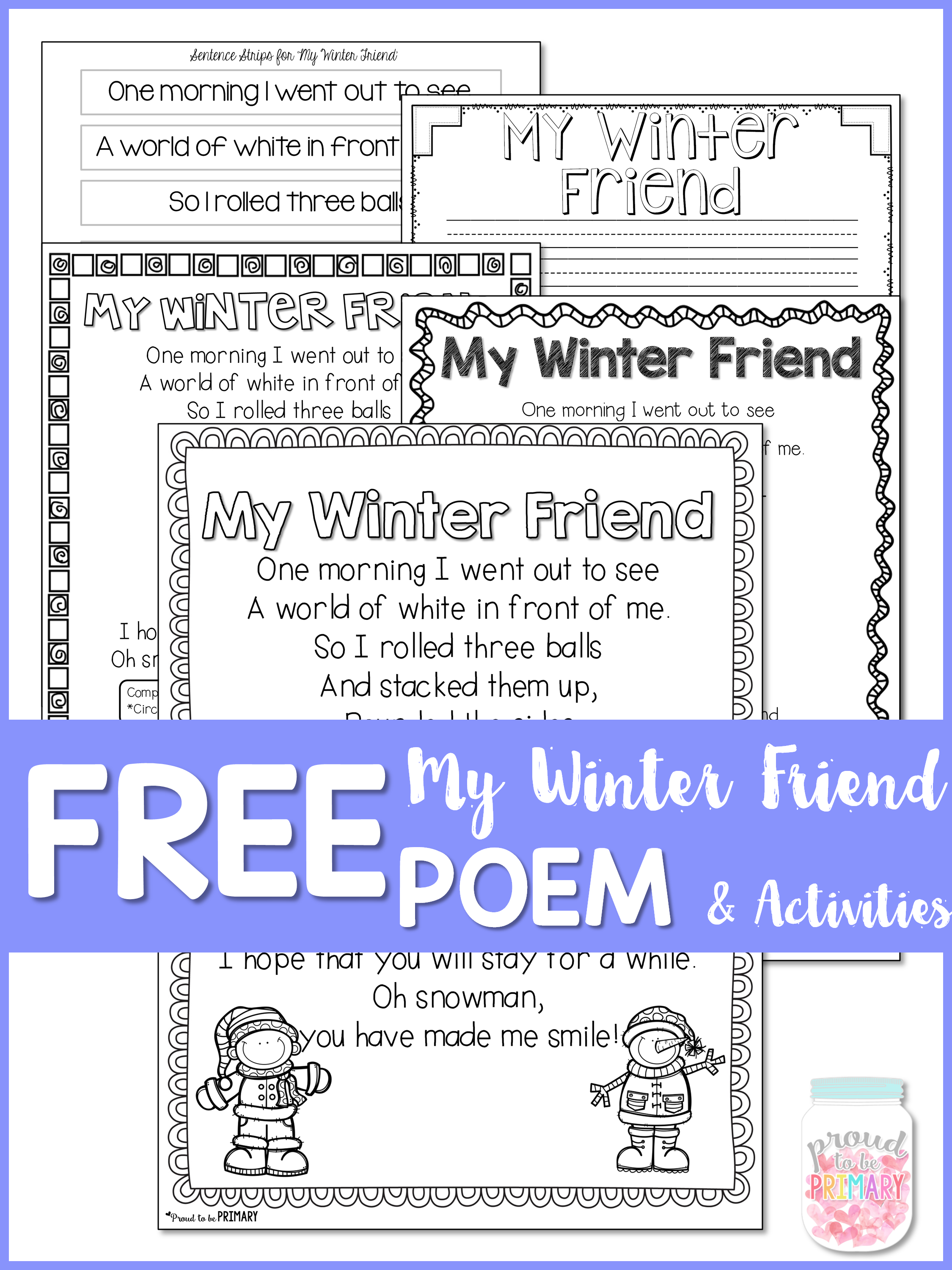 poetry activities - free poem activities - my winter friend