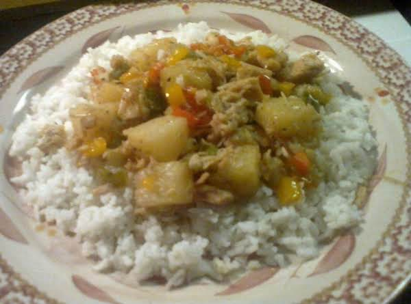 Chicken, Peppers & Pineapple Over Rice Recipe