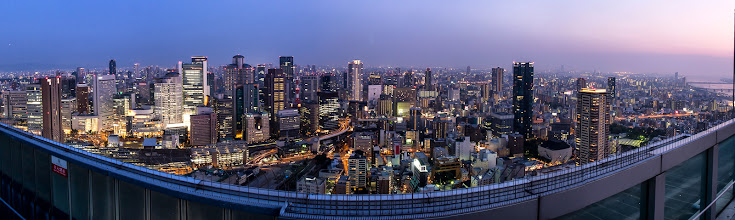 Photo: Night falls from the top of the Umeda Sky Building