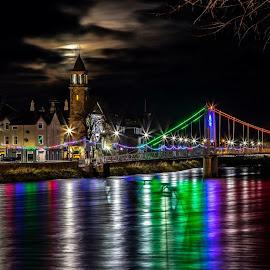 Moonset in Inverness by Gordon Bain - City,  Street & Park  Night ( moonset, riverside, christmas lights, long exposure )