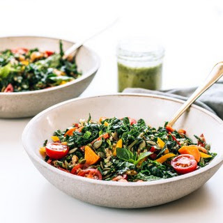 Freekeh Salad with Kale, Sweet Potatoes & Homemade Lime Cilantro Dressing