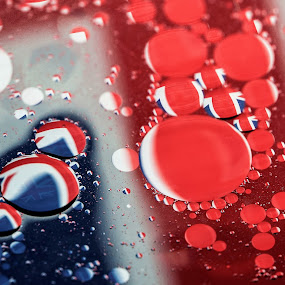 RULE BRITANNIA by Russell Mander - Abstract Water Drops & Splashes ( flag and bubbles, reflection, flag in water, union jack flag, bubbles )