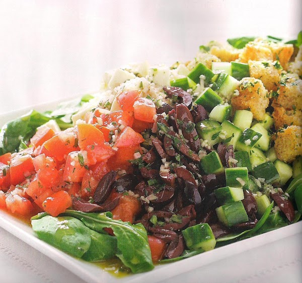 Chopped Greek Salad With Garlic Croutons Recipe