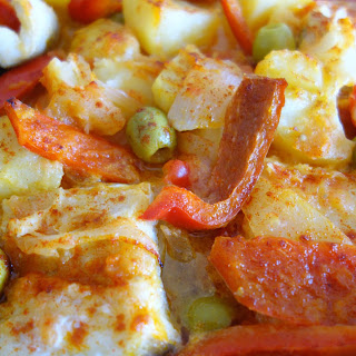 Bacalao al horno con pimientos (Baked Salt Cod with Peppers)