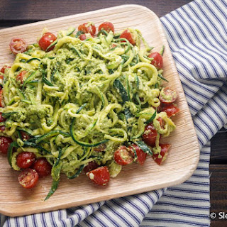 Spinach Pesto Zoodles with Cherry Tomatoes.