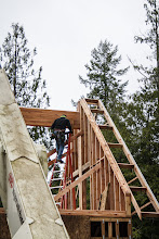 """Photo: Beam set, 2 4 1/2"""" Head Lok screws (Fasten Master) tieing the ridge into the gable wall (in addition to nails)"""