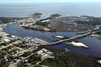 Photo: Arial of harbor of Carrabelle (Florida Panhandle). Photo with kind permission by Skip and Kathy, owners of the Old Carrabelle Hotel.