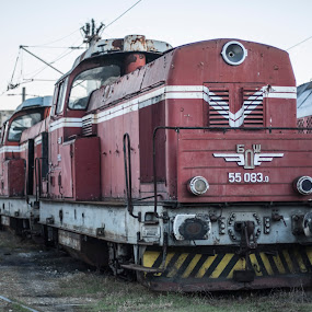 Old engine by Svetoslava Todorova - Transportation Trains ( old, red, engine, bulgaria, decay )