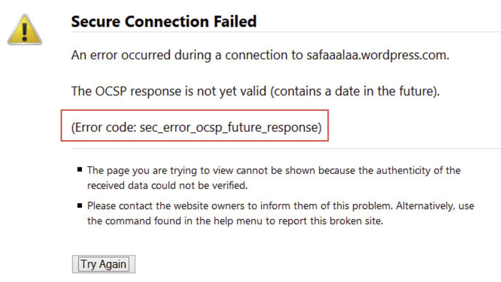 """[Solved] How to Fix Firefox """"Secure Connection Failed"""" with Error Code """"sec_error_ocsp_future_response"""""""