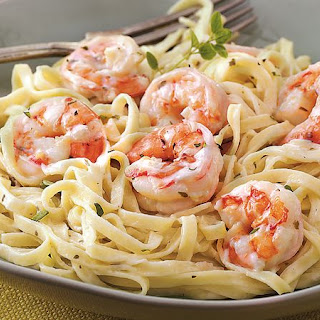 Creamy Garlic Shrimp and Pasta.