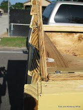 Photo: Gil's station showing the siding he cut on his table saw.  HALS 2009-0620