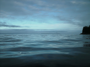 Photo: Heading north in Stephens Passage with Sunset Island in the foggy distance.