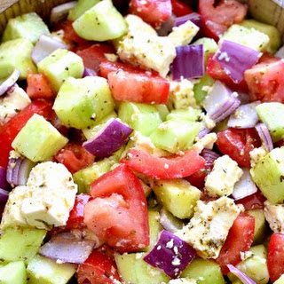 Tomato Cucumber Pepper Salad With Feta Recipes