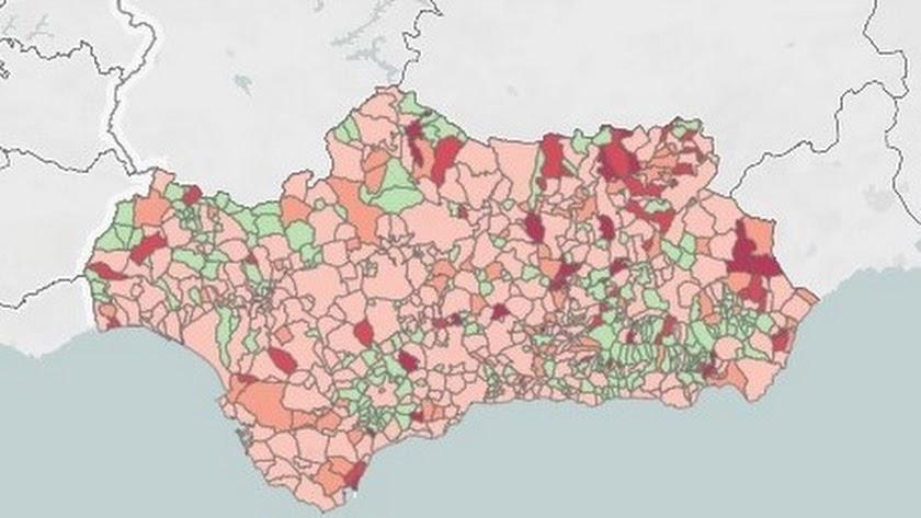 Mapa de Andalucía con la incidencia acumulada de los últimos 7 días.